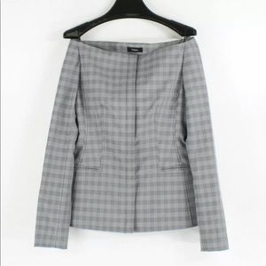 Theory Off The Shoulder McClair Plaid Jacket